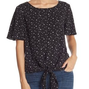 Socialite Star-Print Tie Front Blouse NWT